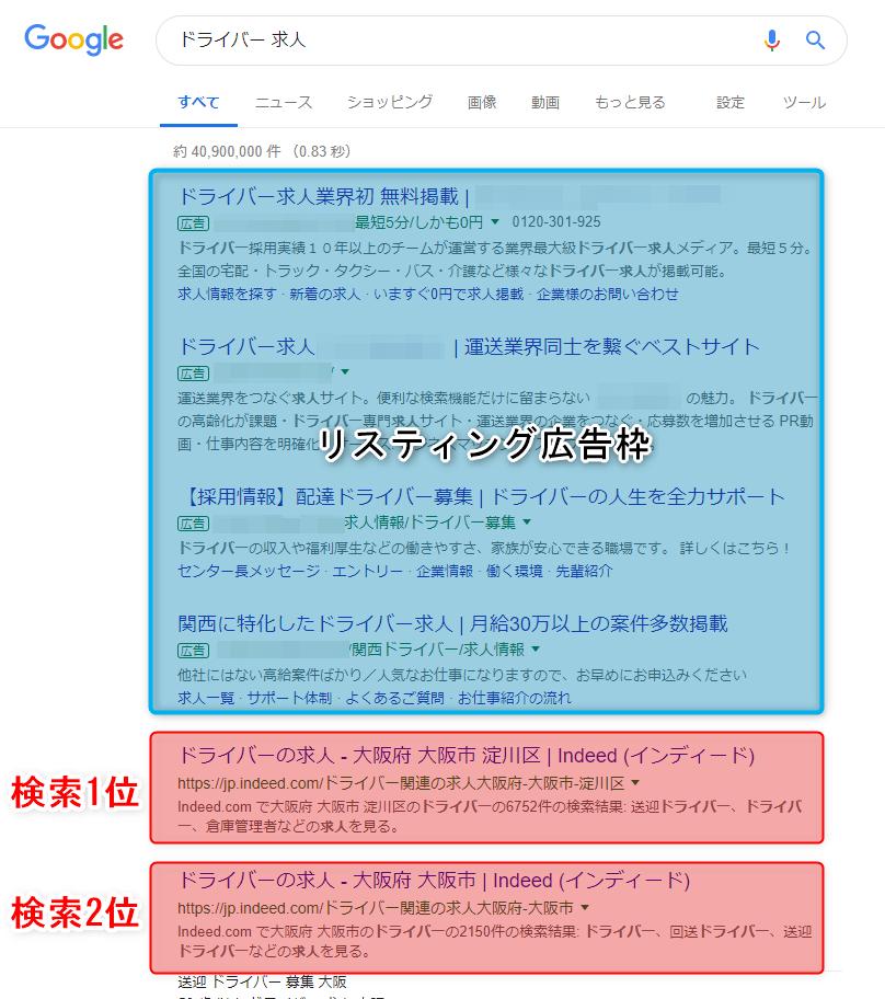 Googleで「ドライバー求人」と検索した結果の画像。リスティング広告枠が上部、次に検索1位2位が続いている。