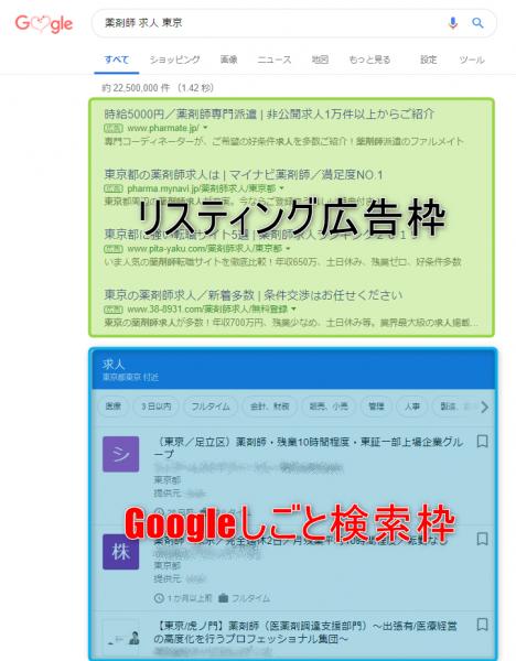 上部がリスティング広告枠、その下にGoogleしごと検索の結果が表示されている