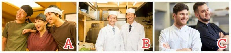 飲食店画像比較。Aは男女のホールスタッフが肩を組み明るい表情の写真、Bは厨房内で和食店のスタッフが映っている画面、Cは外国人スタッフが肩を並べている写真
